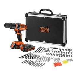 BLACK+DECKER - 18V Perceusevisseuse percussion sans fil Lithium ion avec 2 batteries 160 accessoires dans un flight case - EGBL188BAFC