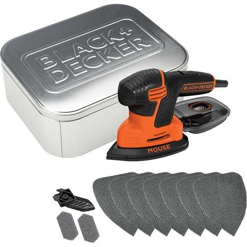Black and Decker - 120W Dreieckschleifer Mouse mit 10tlg Zubehr in attraktiver Metalldose - KA2000AT